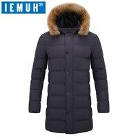 Iemuh бренд Для мужчин Мужские парки зимняя куртка длинное пальто одежда модные длинные куртки Пальто для будущих мам бренд-одежда Для мужчин ...