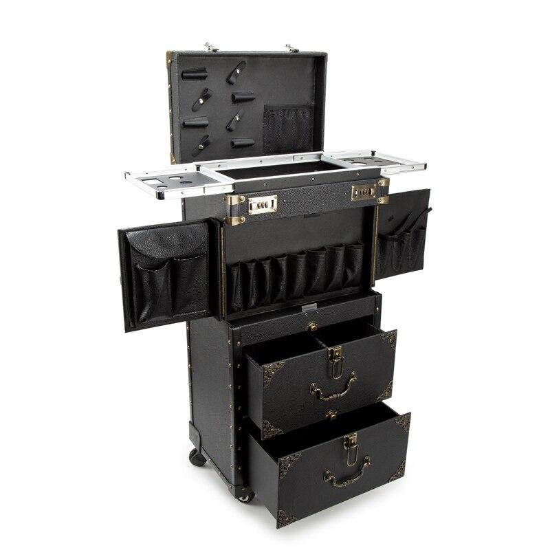 Multifonction nouvelle valise cosmétique de chariot de grande capacité roulant le bagage, valise multicouche de chariot de Salons de tatouage de beauté