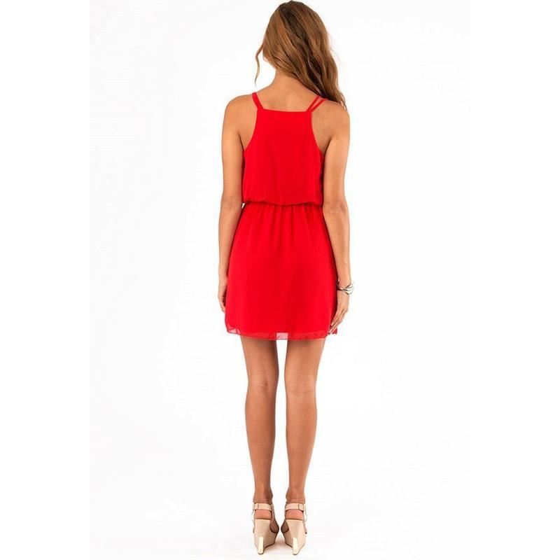 GOPLUS 2018 Summer Style Chiffon Party Dress Women Casual V neck Beach Dress Sleeveless Red Black Sweet Mini Dresses Plus Size 2
