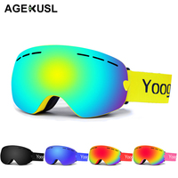AGEKUSL Men Women Pro Snowboard Ski Goggles Anti fog UV Protection Antiparras Snowmobile Mountain Skiing Snowboarding Glasses