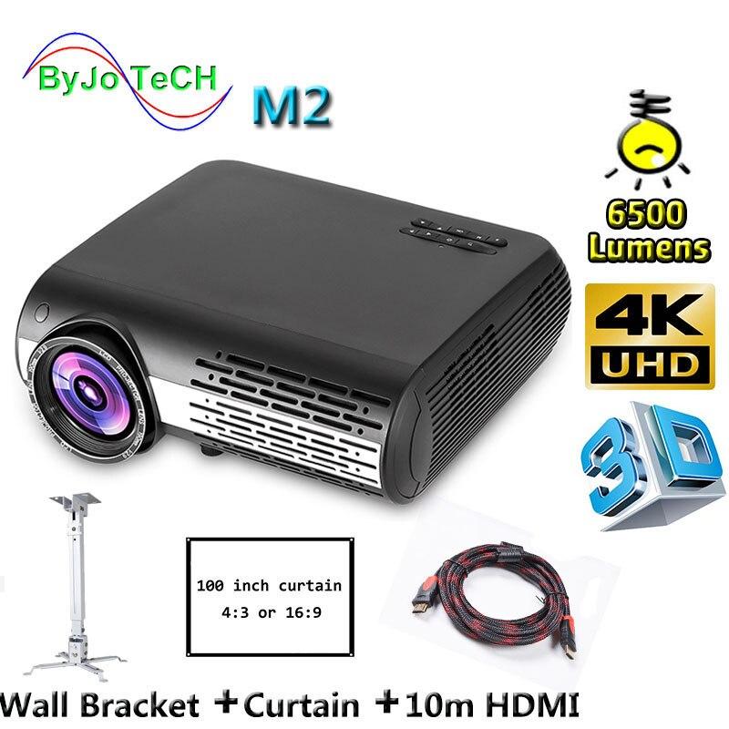 Poner Saund M2 LED projektor 6500 Lumen 4K 2K VOLLE HD 3D Home Theatre Unterstützung HDMI USB VGA 100 zoll Bildschirm Stativ Wand Halterung