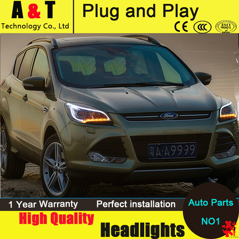Auto Lighting Style LED Head Lamp for Ford Kuga led headlights 2013-2014 Escape angel eye drl H7 hid Bi-Xenon Lens low beam  car styling led head lamp for ford kuga led headlights 2014 taiwan escape angel eye drl h7 hid bi xenon lens low beam