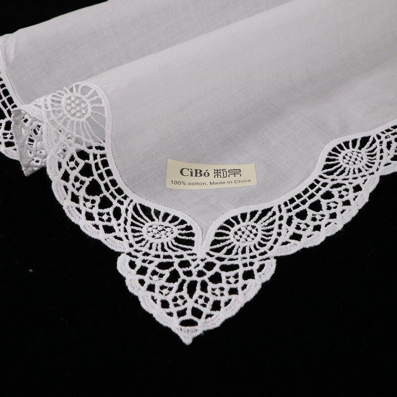 D605 M White premium cotton lace handkerchiefs 12 piece pack blank crochet hankies for women ladies