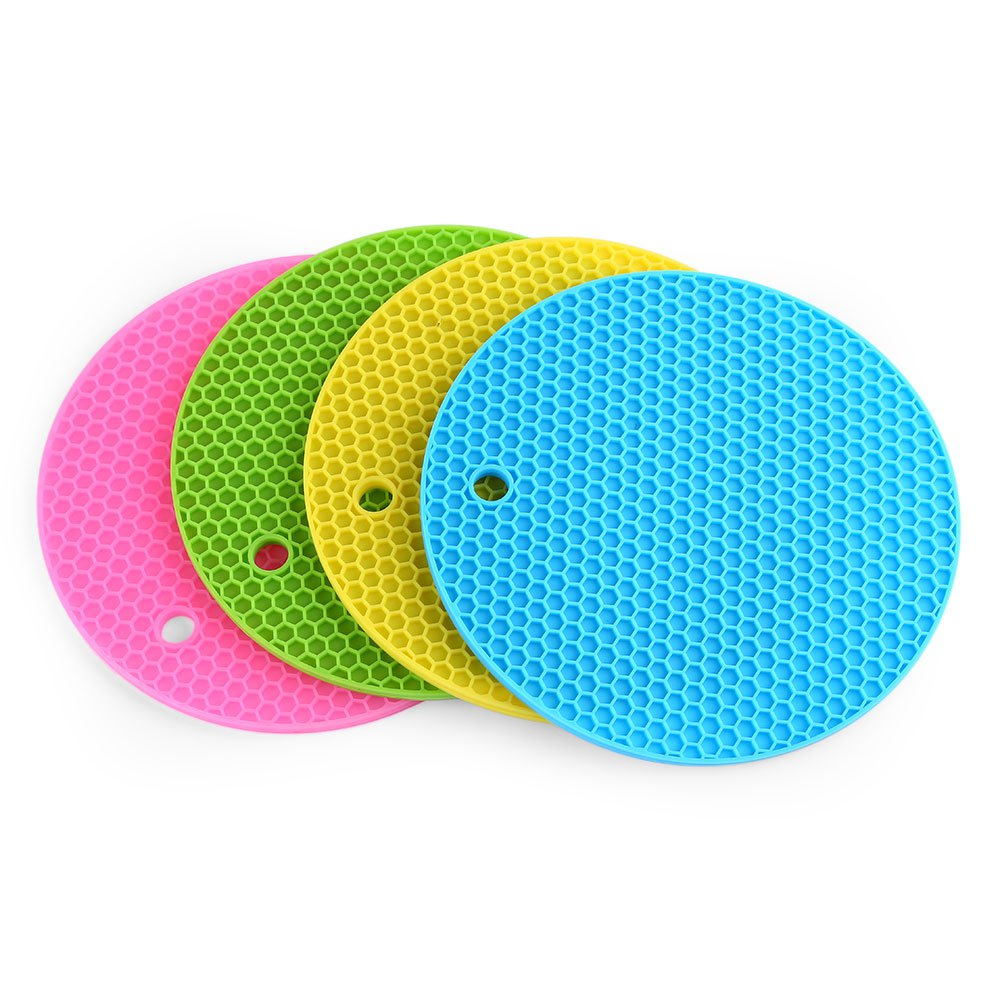 Safe And Healthy Multipurpose Nonslip Flexible Heat Resistant Table Mats  Round Honeycomb Silicone Pot