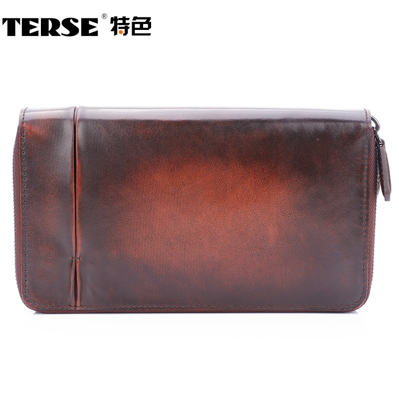 TERSE Double zipper font b men s b font font b Wallet b font genuine Leather