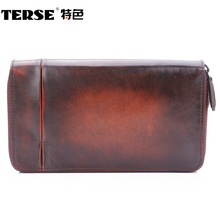 TERSE Double zipper men's Wallet genuine Leather 100% Handmade 3 Color purse clutch perfect gift high quality handmade custom