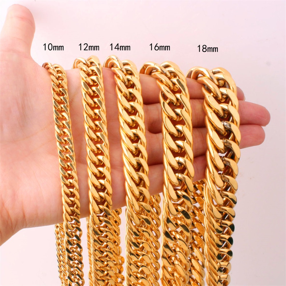 14//16//18mm Gold Plated Stainless Steel Mens Cuban Curb Chain Necklace 7-40
