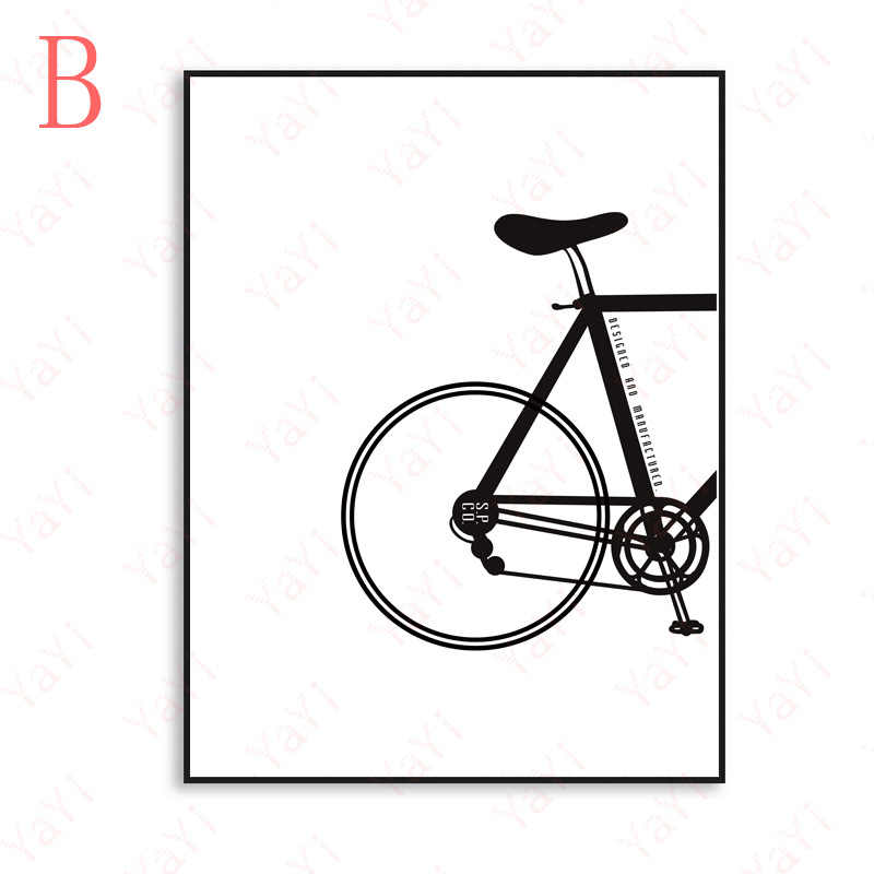 HAOCHU New gift black and white free bike office home decoration canvas painting living room sofa background poster picture