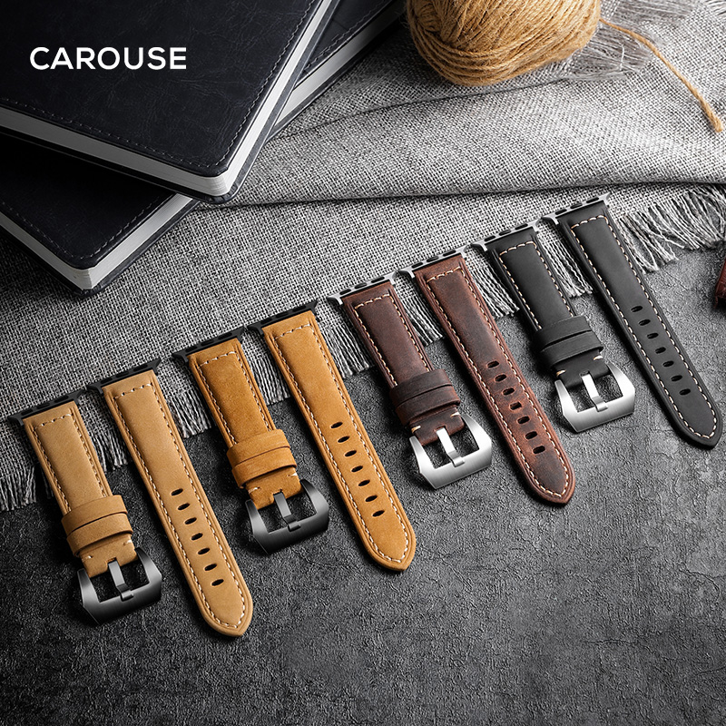 Carouse Handmade Crazy Cowhide Watchband For Apple Watch Band Series 5/4/3/2 42mm 38mm Leather Sports Strap For IWatch 44mm 40mm
