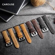 Carouse Handmade szalona skóra bydlęca Watchband dla Apple Watch Band seria SE/6/5/4/3/2/1 42mm 38mm skórzany pasek dla iWatch 44mm 40mm