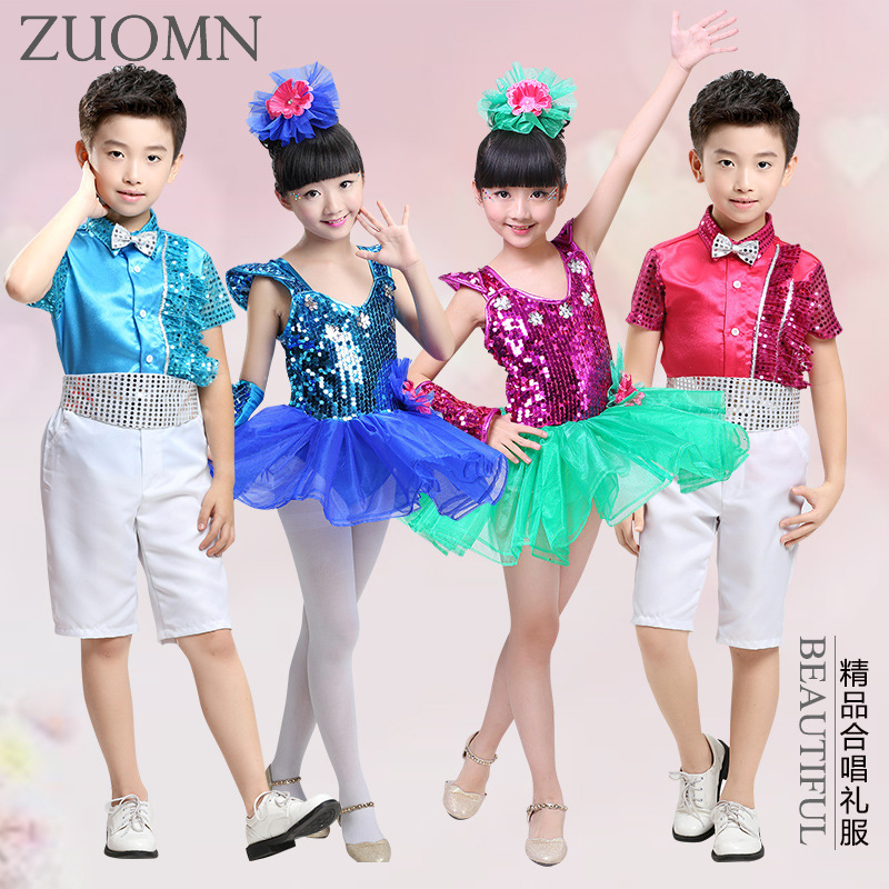 55267e8dc Kids Dance wear Clothes Dancing Outfits Top Pants boys girls Sequin ...
