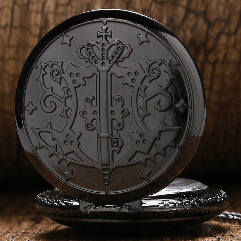 Vintage Pocket Watches Steampunk Black Steel Retro Quartz Pocket Watch Kuroshitsuji Men Fob Watch Hour White Dial Gift For Boy