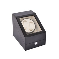 시계 와인 더, lt 나무 자동 회전 2 + 3 시계 와인 더 보관 케이스 디스플레이 박스 (블랙-화이트)