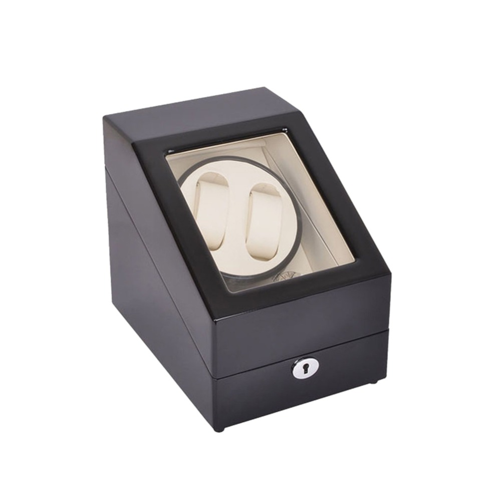 Watch Winder ,LT Wooden Automatic Rotation 2+3 Watch Winder Storage Case Display Box (Black-white) ultra luxury 2 3 5 modes german motor watch winder white color wooden black pu leater inside automatic watch winder