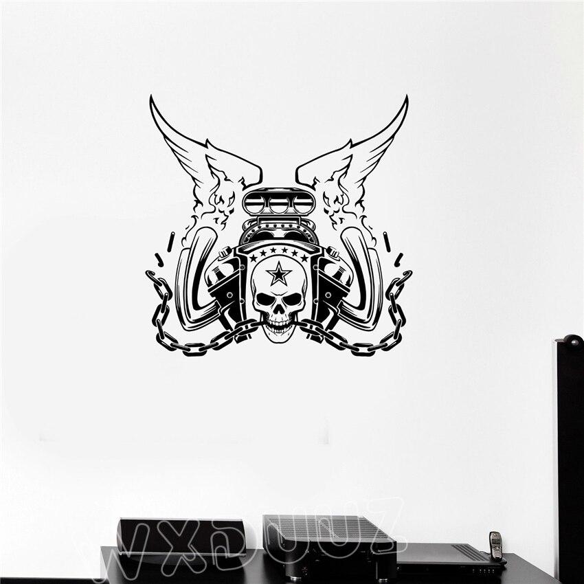 Wxduuz Двигатели для автомобиля ремонта автомобиля череп Гараж Декор череп Книги по иску ...