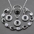925 Sterling Silver Women Round 4PCS Jewelry Sets Black Zircon Ring Size 6/7/8/9/10 Bracelet Length 19CM Free Gift Box JS03