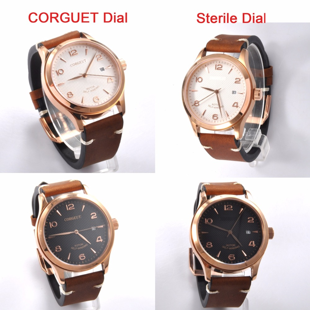 Corgeut 42mm luxury top brand Sapphire crystal calendar dial leather gold case Automatic Mechanical men Wristwatches