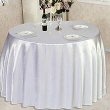 ef30011653 1 ピース白黒ピンクサテンテーブルクロス無地結婚式誕生日パーティーテーブルカバー、ラウンドテーブルクロス家の装飾