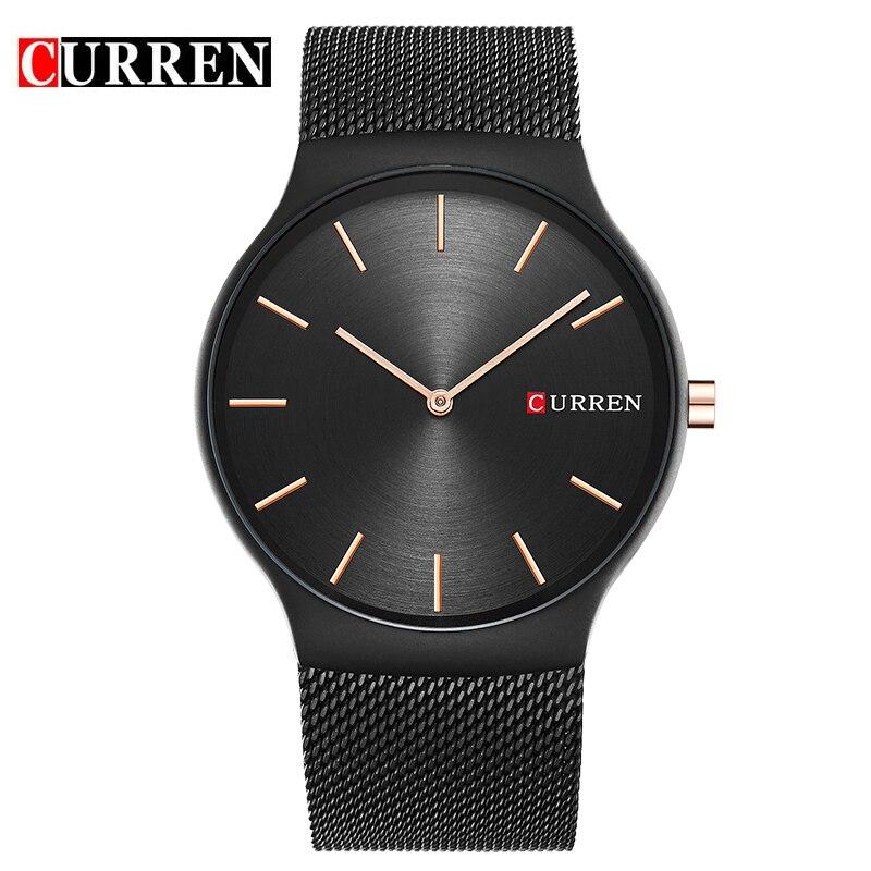 Curren 2017 Nuevo Negro Rosa oro puntero Relogio masculino marca de lujo analógico reloj de cuarzo de negocios reloj hombres 8256