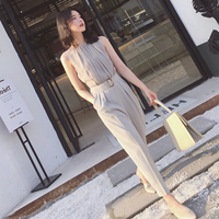 2019 summer new sleeveless jumpsuits women fashion vest temperament of tall waist nine points leisure trousers jumpsuit