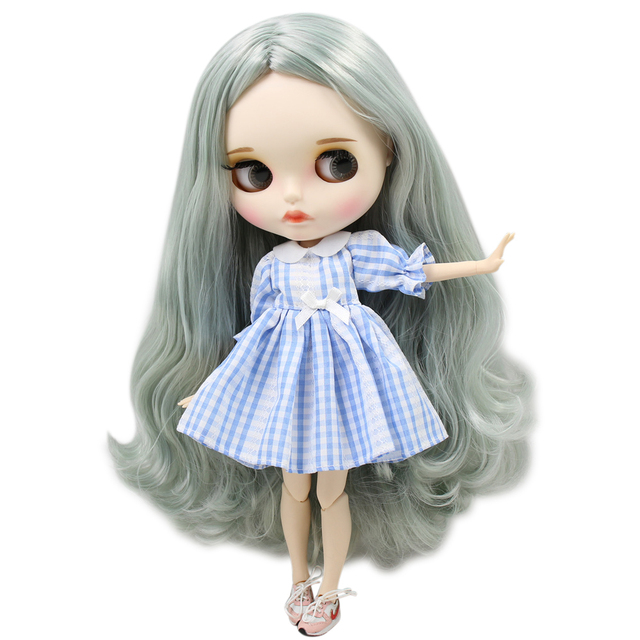 ICY Neo Blythe Doll Grey Green Hair Jointed Body 30cm