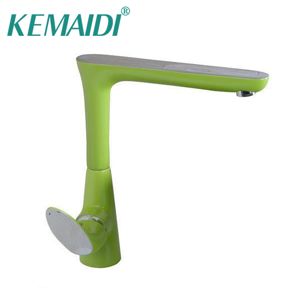 KEMAIDI Newly Green Painting Swivel Chrome Basin Water Kitchen Sink Faucets Torneira Vessel Lavatory Faucets Mixers