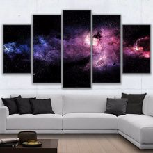 HD Prints 5 Pieces Canvas Paintings Frames Modular Starry Sky Poster Nebula Abstract Landscape Pictures Kids Room Decor Wall Art(China)