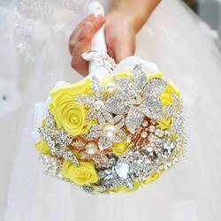 Желтая брошь букет невесты свадебные украшения мини букет невесты цветок