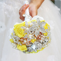 Yellow brooch bouquet bride holding flowers wedding decoration items mini Bride 's Bouquet Bridesmaid Flower