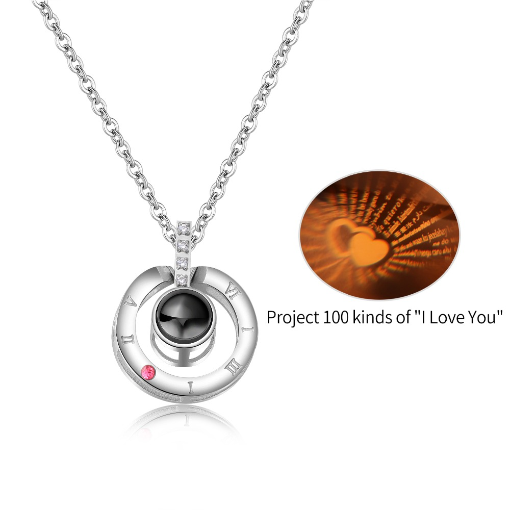 The 100 language quot I love you quot Stainless Steel Round Pendants Necklaces For Women Charm Rose Gold steel Girls collar Jewelry Gift in Pendants from Jewelry amp Accessories