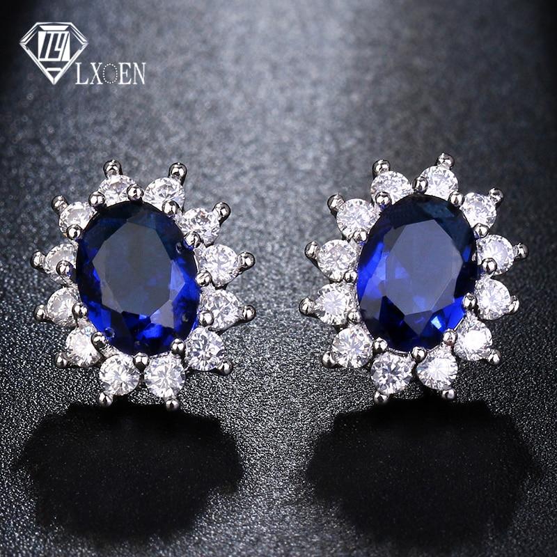 LXOEN Fashion Blue Oval Zircon Stud Earrings for Women Present Gift Red Crystal Bijoux for Girl Earings Oorbellen Small Earrings