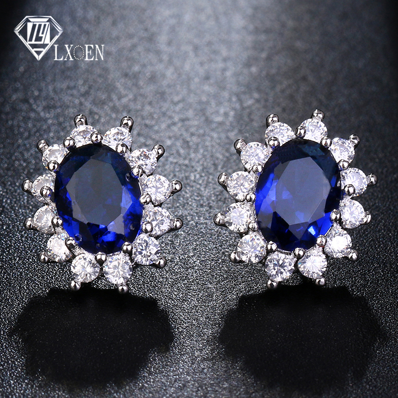 LXOEN Fashion Blue Oval Zircon Stud Earrings for Women Present Gift Red Crystal Bijoux for Girl Earings Oorbellen Small Earrings(China)