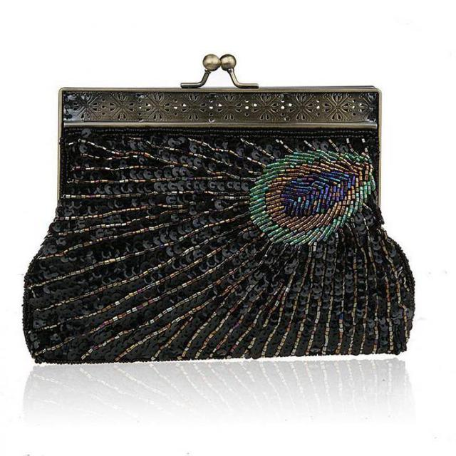 2018 Women Noble Elegant Evening Bag Upscale Socialite Beads Sequins Cosmetic  Bags Gorgeous Bling Vintage Handmade c6f24ff702d6