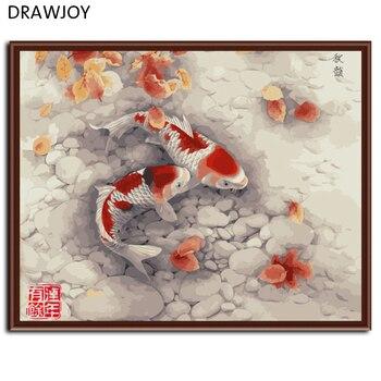 DRAWJOY Rot Fisch Gerahmte Bild Malerei & Kalligraphie DIY Malerei Durch Zahlen Färbung Durch Zahlen G324 40*50 cm