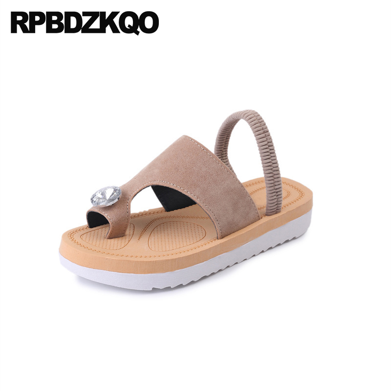 Women Sandals Flat Casual Beach Suede Toe Ring Diamond Flatform Shoes Strap Nude Cheap Slides Platform Rhinestone Jewel Crystal
