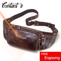Contact's Genuine Leather Waist Packs Belt Bags Men Phone Pouch Bag with Card Holder Travel Waist Pack Male Quality Handbags