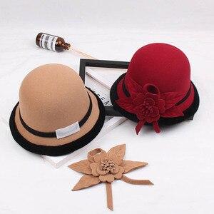 Image 3 - Fibonacci 2018 New Autumn Winter Female Fedoras Lmitation Wool Felt Women Hats Fashion Bucket Floral Fedora Hat