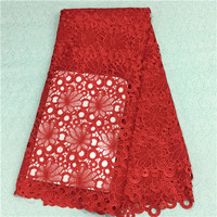 African stone High Quality Net Lace,French Voile Guipure tulle mesh Lace Fabric For dress red 5yd/lot!16l-6-1