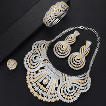 SisCathy 4PCS New Statement Big Jewelry sets For Women Luxury Cubic Zircon CZ African Dubai Wedding Bridal Sets