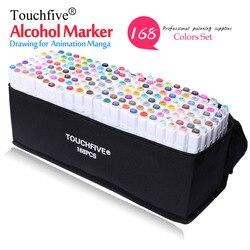 Rotulador profesional TouchFive de 168 colores, rotulador de pincel con tinta a base de alcohol aceitoso, rotuladores de dibujo de doble cabeza para Manga
