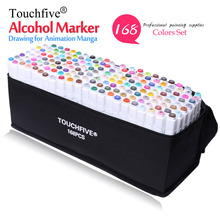 TouchFive Professional Marker 168 Colors Set Brush pen Alcoholic Oily based ink Art For Manga Dual Headed Sketch Markers