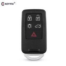 KEYYOU-Llavero en blanco para coche Volvo, carcasa de 5 botones para mando a distancia, estilo de coche, 4 + 1 botones, para Volvo S60, V60, S80, XC70, XC60, V70