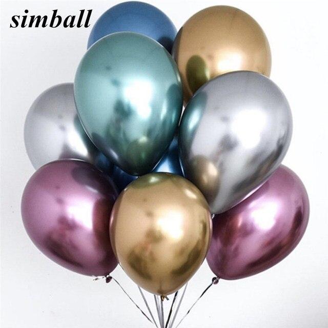 Globo de helio inflable de 10 piezas de 12 pulgadas nuevo cromo metálico látex Globos gruesos metálicos decoración de fiesta de cumpleaños