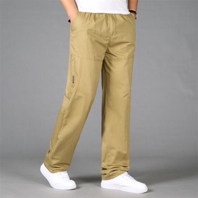 43a02aaeb1b Plus Size Men s Cargo Pants New Autumn Winter Casual Loose Cotton Trousers  Army Military Baggy Workout Tactical Pants Male 5XL