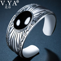V.YA Natural Black Stone Bangles Bracelets 925 Sterling Silver Bangle for Women Indian Jewelry Wedding Party Gift