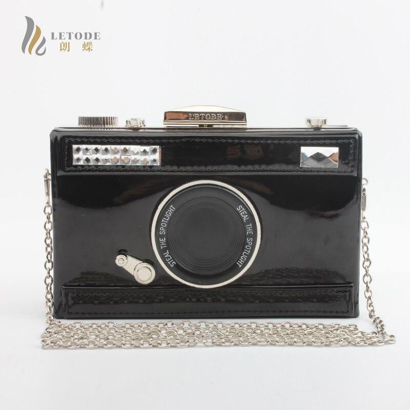 Fashion Boutique Camera Clutch Handbag For Women Evening Party PU Shoulder Bags Casual Crossbody Bag Ladies Hard Case Box Bag