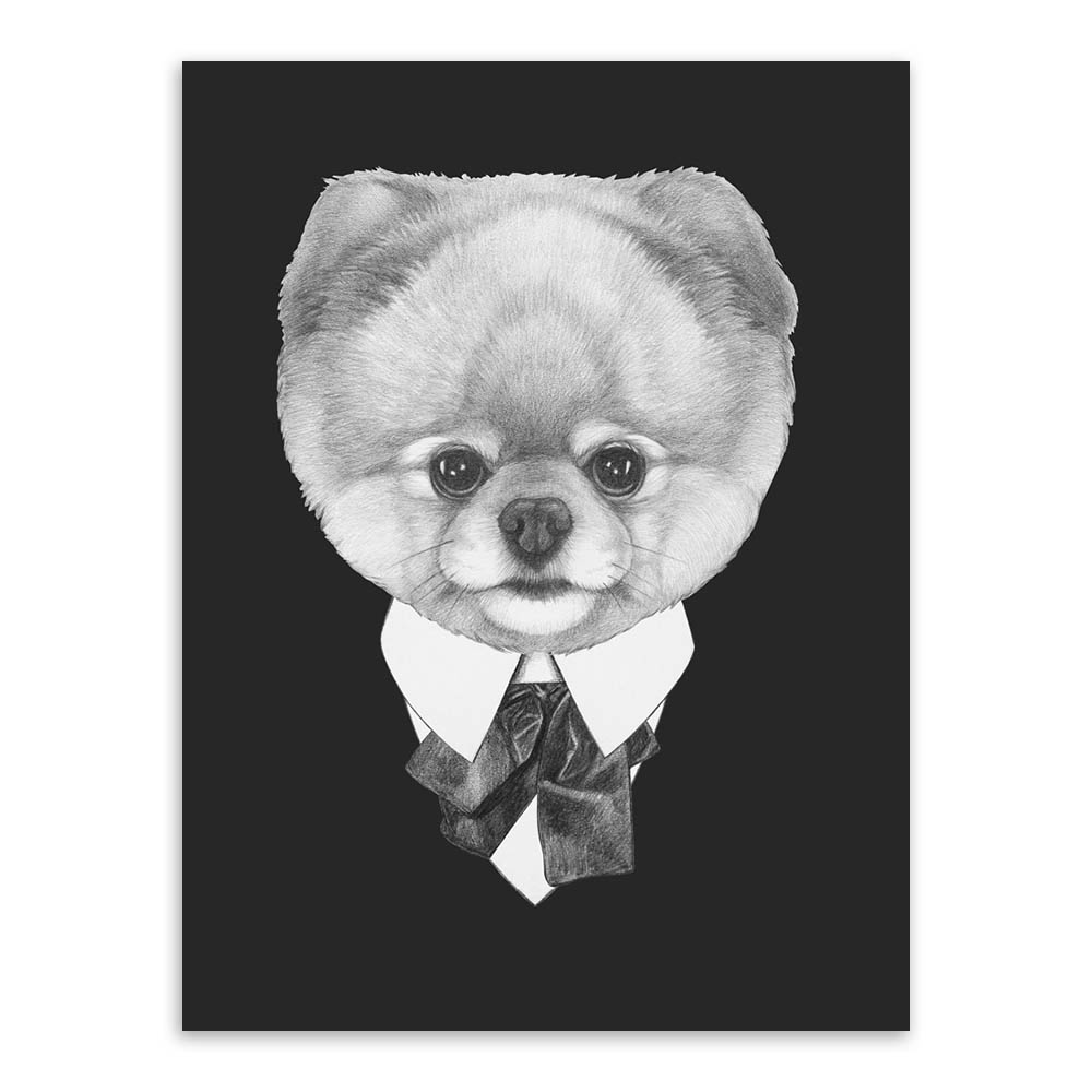 Modern black white vintage italy abstract mafia animals dog cat canvas a4 print poster wall picture home decor painting no frame di painting calligraphy