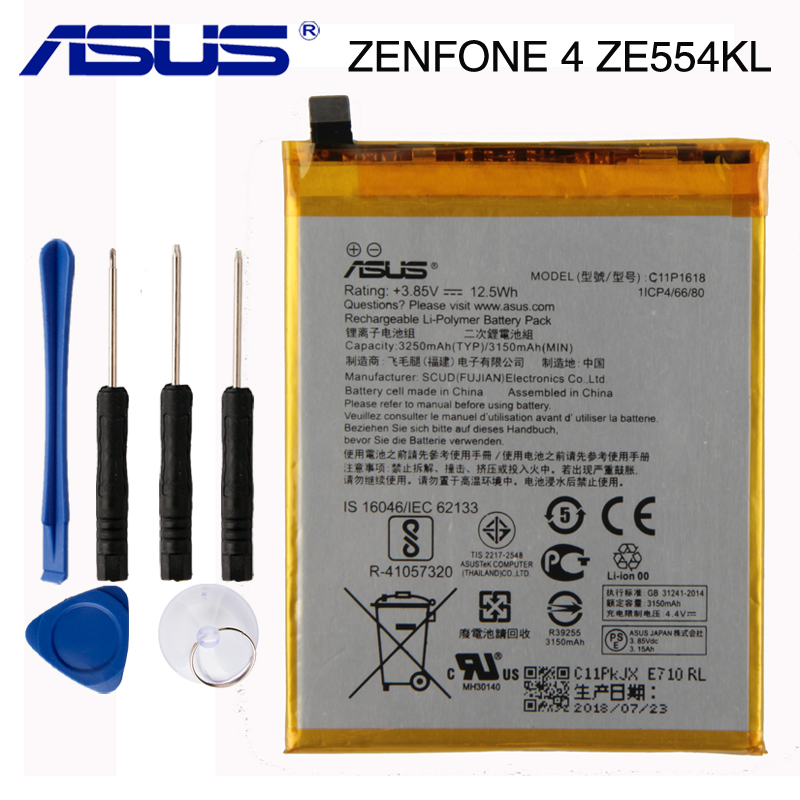 Original ASUS C11P1618 Phone Battery For ASUS Zenfone 4 Z01KD ZE554KL 3250mAhOriginal ASUS C11P1618 Phone Battery For ASUS Zenfone 4 Z01KD ZE554KL 3250mAh