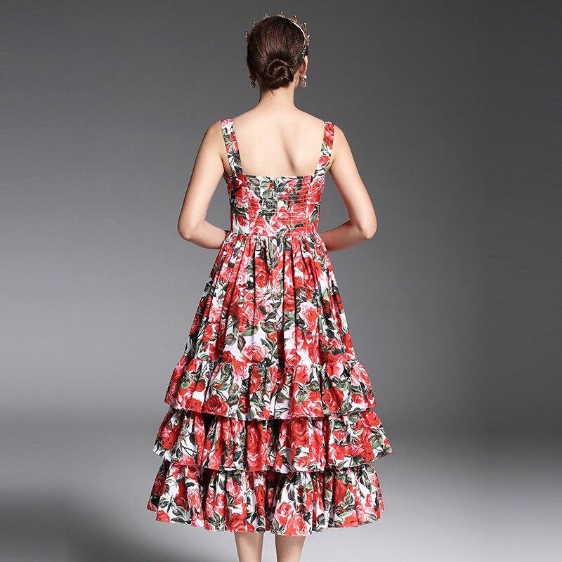 De Sexy D'été Mi Multi Courroie Volants Rouge À 2017 Piste Mode Imprimé Des Designer Date Robe Gaine Rose mollet Femmes Floral g5nCwq