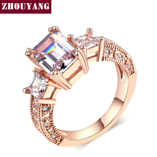 Top Quality ZYR343 Square Cubic Zirconia Wedding Silver Color Ring Jewelry Cryst